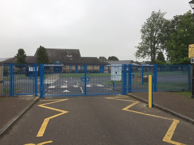 Electric gates at a school in Dartford, Kent, da2